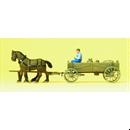 30411 Телега, 2 лошади, крестьянин